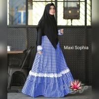 Maxi Sophia/Gamis Katun Kotak Wolfis Polos/Gamis Syari/Set Syar'i