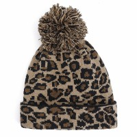 Women Winter Casual Leopard Print Pompoms Knitted Hat Beanie