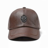 Winter Artificial Leather Cotton Lining Letter Badge Dad Hat