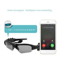 Kacamata Sunglasses Bluetooth Headset Untuk IPhone frame hitam lensa