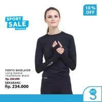 Tiento Baselayer Manset Olahraga Wanita Long Sleeve Thumbhole Black