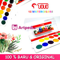 TiTi Watercolor Cake set 12 Colors - Watercolor 12 Warna - Cat air