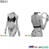 B311 - Bikini Bra Set Halterneck Hitam Transparan Bando Gelang
