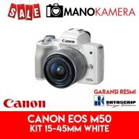 Canon EOS M50 Kit EF-M 15-45mm IS STM White Garansi Resmi Datascrip