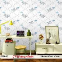 Wallpaper Stiker Bunga Biru Wallpaper Dinding 3D Sticker