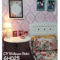Wallpaper Stiker Batik Silver Pink Wallpaper Dinding 3D Sticker