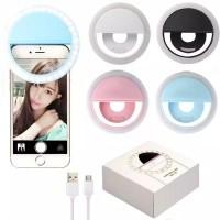 RECHARGABLE USB LAMPU SELFIE RING LIGHT LED FOTOGRAFI MAKEUP-Biru