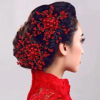 sirkam rambut hiasan aksesoris rambut mutiara merah qs24