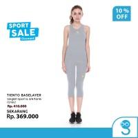 Tiento Tanktop Singlet Sport Wanita Celana Legging 3/4 Pants Grey 1Set