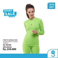 Tiento Baselayer Manset Olahraga Wanita Long Sleeve Green Stabilo