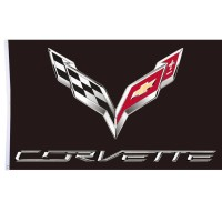 B90 Bendera Besar Tiang Dinding Corvette Chevrolet Racing Car 150x90cm