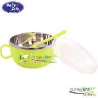 Babysafe Stainless Bowl with Cover 240ml SS001 - Mangkok Makan Bayi
