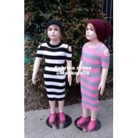 Baju Rajut Anak Dress Sabrina TANGAN PENDEK BOLONG BAHU FL-3130-NP