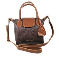 Handbag Kulit LC Donita Dark Brown Motif Antik
