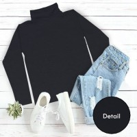 Turtle Neck Long Sleeve Wanita Warna Hitam - ELLIPSES.INC