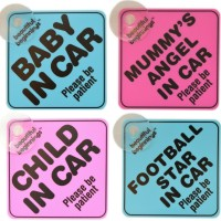 IN CAR FOOTBALL STAR Blue Child/'s Sign With Suction Pad,Baby on Board,Safety