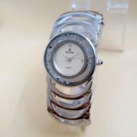 jam tangan wanita Rovina Bulat model gelang Bodi Silver dan Hitam - Full Hitam