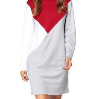 Terbaru Casual Women Color Block Long Sleeve Hooded Sweatshirt
