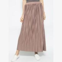 duapola Plisket Pipe Maxi Skirt 78188MW - Cokelat Berkualitas Tinggi