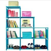 Rak Buku Lemari Sepatu Serbaguna Portable 3 Sisi 9 Ruang Murah