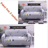 Sarung Kursi Paket Sarung Sofa Cantik Bahan Elastis 2 dan 3 Seater fr