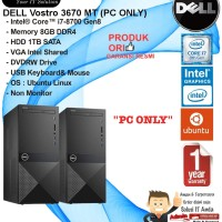 DELL Vostro 3670 Intel Core i7-8700/8GB/1TB/DVDRW/DOS/1YR PC ONLY