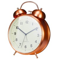 "Twin Bell Alarm Clock 8"" Rose Gold"