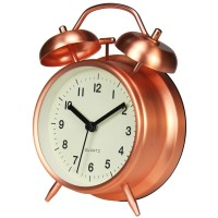 "Twin Bell Alarm Clock 4"" Rose Gold"