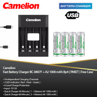 PAKET - Camelion Quick Charger + AA 1000 mAh Bp4 Always Ready