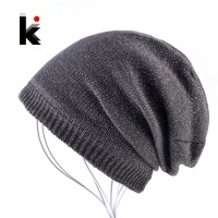 a21bc36e Autumn And Winter Bonnet Beanies Hat Women Fashion Flashing line