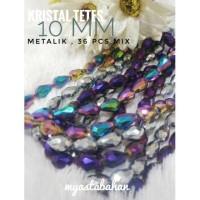 36 pcs mix kristal tetes 10mm metalik