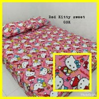 Sprei Homemade Karakter Anak SIZE 160 X 200 Motif red kitty sweet