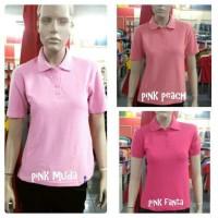 Baju atasan wanita POLO SHIRT WANITA TANGAN PENDEK KERAH PINK KAOS