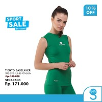 Tiento Baselayer Women Lekbong Singlet Sport Wanita Sleeve Less Green