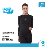 Tiento Baselayer Manset Olahraga Wanita Long Sleeve Black Gold Women