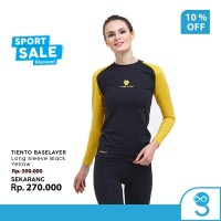 Tiento Baselayer Manset Olahraga Wanita Long Sleeve Women Black Yellow