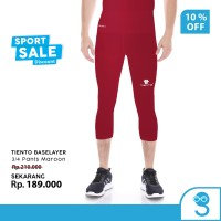 Tiento Legging Leging Olahraga Pria 3/4 Pants Men Maroon Original