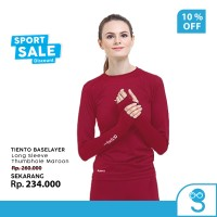Tiento Baselayer Manset Olahraga Wanita Long Sleeve Maroon Thumbhole
