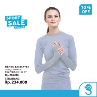 Tiento Baselayer Manset Olahraga Wanita Long Sleeve Grey Thumbhole