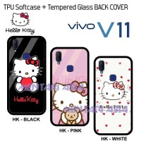 Softcase VIVO V11 - HELLO KITTY Softcase Tempered Glass BACK COVER