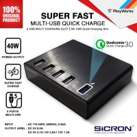 Desktop Charger Multi USB Sicron Quick Charge 3.0 - Black