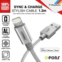 Kabel Charger iPhone MFI QPONS Stylish Cable - Silver