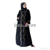 Abaya izza gamis hitam permata dres fashion wanita muslim elegan syari