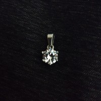 Liontin Stainless Steel Solitaire Diamond CZ Shine