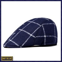 74c1e00d434b Men Cotton Retro Plaid Painter Beret Hat Outdoor Winter Newsboy Ivy
