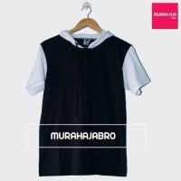 Baju Kaos Polos Hoodie Lengan Pendek Raglan - Hitam Putih663