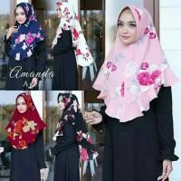 Jilbab Khimar Printing Murah Mode Amanda Agra Flower Rempel Cantika Ma