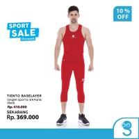 Tiento Tanktop Singlet Sport Pria Celana Legging 3/4 Pants Red 1 Set