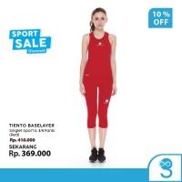 Tiento Tanktop Singlet Sport Wanita Celana Legging 3/4 Pants Red 1 Set