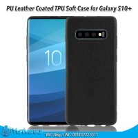 PU Leather Coated TPU Soft Case for Samsung Galaxy S10 Plus - Black